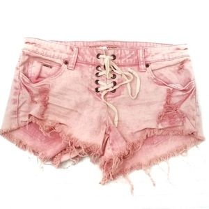 BIllabong Pink Lace Up Frayed Distressed shorts